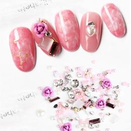 Uv Decor NZ - 1 Box 3D Mix Gems Crystal Nail Rhinestones Glitters Pearls Rose Flower Nail Art Decors DIY UV Gel Polish Manicure Tips NEW