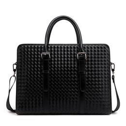 $enCountryForm.capitalKeyWord Canada - Black woven handbag Men's business and leisure briefcase hot package postage