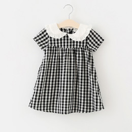 Chinese  2018 kids clothing new arrivals Girls Lovely dress pet pan collar short sleeve plaid print dress 100% cotton girl kids elegant ins dress manufacturers