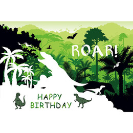 $enCountryForm.capitalKeyWord NZ - Tropical Forest Dinosaur Party Backdrop Printed Green Trees Newborn Baby Shower Props Kids Birthday Photo Background Customized