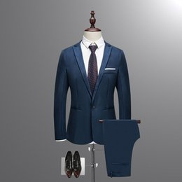 $enCountryForm.capitalKeyWord Australia - 2018 New Autumn Wedding Navy Blue Suits Men,Blazer Men,Men's Jacket + Pants Business Suits,men's Dress suits, Plus Size M-3XL