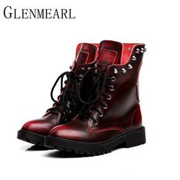 $enCountryForm.capitalKeyWord Australia - 2018 Leather Women Boots Fall Winter Warm New Brand Rivets Fashion Platform Red Black Mid-Calf Boots Women Shoes ZK15