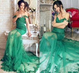 $enCountryForm.capitalKeyWord NZ - 2017 Vintage Green Straps Off the Shoulder Lace Sequins Lace Mermaid Prom Dresses Evening Dresses Long Tulle Court Train