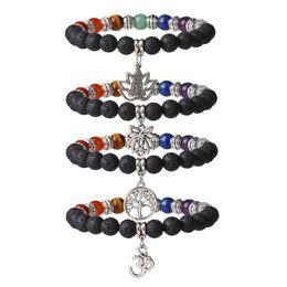 Chinese  7 Chakra Lava Stone Aromatherapy Essential Oil Diffuser Reiki Crystal Healing Yoga Meditation Gemstone Beads Pendant Bracelet G803S manufacturers