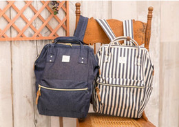 Anello Bags Backpacks Canada - Anello Backpack Blue White Stripe Japan  Unisex Fashion Backpack Rucksack Diaper d6cb077038d20