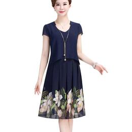 4df98c36ff8 Летняя мода среднего возраста женщины поддельные из двух частей шифоновое  платье плюс размер матери одежда повседневная печати с коротким рукавом  платье ...