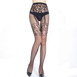 b8211b8346694 Fake Garter belt Print Fishnet Pantyhose Women Nylon Stockings Women Tattoo  Thigh High Stockings Open Crotch Sexy