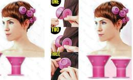 Vente en gros 2018 silicone bigoudis 10 Pcs / ensemble Coiffure Doux Soins des Cheveux BRICOLAGE Peco Rouleau De Style De Cheveux Bigoudi Salon Doux Silicone Rose Couleur Cheveux Rouleau