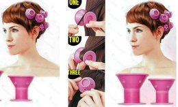 Wholesale 2018 silicone curlers 10Pcs set Hairstyle Soft Hair Care DIY Peco Roll Hair Style Roller Curler Salon Soft Silicone Pink Color Hair Roller
