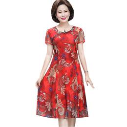68a56299af35 Vestido de Chiffon de Verão da mãe 2018 Novas Mulheres de Meia-Idade  Cheongsam Vestido Feminino Impressão Floral Na Altura Do Joelho-Comprimento  Vestidos ...