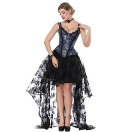 d6fe0181fa Blue & Black Steampunk Costume Women Corpetes E Corselet Sexy Corset Dress  Victorian Gothic Clothing Dresses Burlesque Outfit