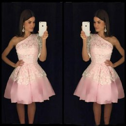 Discount stunning one shoulder dress - Stunning Lace One Shoulder Pink Short Homecoming Dresses Sleeveless Arabic Knee Length Short Prom Dress Cocktail Graduat