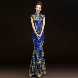 свадебное платье оптовых-2016 Fashion Red Lace Bride Wedding Qipao Long Cheongsam Chinese Traditional Dress Slim Retro Qi Pao Women Antique Dresses