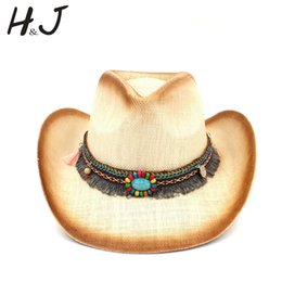 e8a25440f3a Fashion Women Straw Cowboy Hat With Punk Leather Band For Lady Dad Western  Sombrero Hombre Cowgirl Jazz Caps Size 58CM