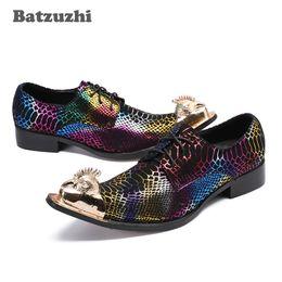 764f341fe7 CALIENTE Personalidad Nueva punta de metal Zapatos de vestir de cuero para  hombres Zapatos Fiesta de negocios