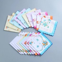 Wholesale Floral Cutters Australia - Nicely 100% Cotton Handkerchief Cutter Ladies Handkerchief Craft Vintage Hanky Floral Wedding Party Handkerchief 30*30cm Random Color