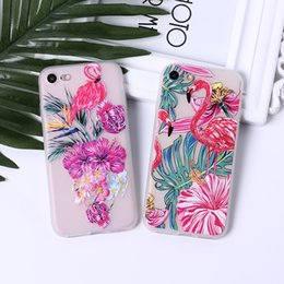 iphone flamingo case 2019 - For Iphone 7 Phone Cases Flamingo Frosted Emboss Transparent TPU Soft All-Inclusive Mixed Purchase Cell Phone Case For I