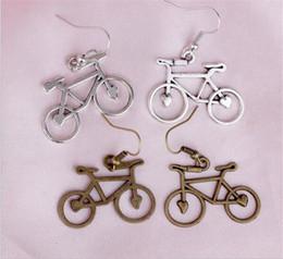 Bicycle heart online shopping - Open Heart Bike Bicycle Earrings Silver Fish Ear Hook Antique Silver Chandelier Jewelry J150