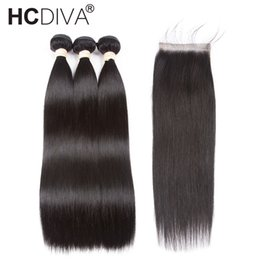 China Pre-colored Brazilian Straight Hair With Closure 3 Bundles 100% Remy Human Hair Bundle With Closure Nature Color HCDIVA Hair supplier natural colored hair weave suppliers
