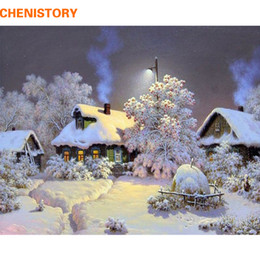 Snow houSe painting online shopping - CHENISTORY Frameless Snow House DIY Painting By Numbers Landscape Wall Art Picture Hand Painted Oil Painting For Home Decor Arts