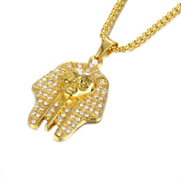 pharaoh chain pendant Australia - Wholesale Mens Egyptian Pharaohs Necklaces Gold Plated Fashion Hip Hop Jewelry Chains Punk Rock Men Pendant Necklace