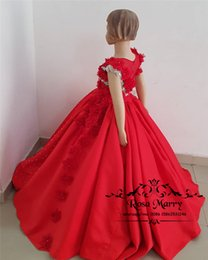 Cheap Cupcakes Australia - Luxury Red Crystals Girls Pageant Dresses 2019 3D Floral Beaded Plus Size Cheap Toddlers Kids Cupcake Birthday Party First Communion Gowns