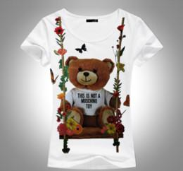 2018 новый бренд летние топы мода Tee женщины VOGUE медведь печатных Harajuku Майка красный черный женский футболка Camisas тройники дамы футболка