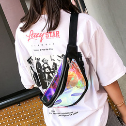 grey waist bags Canada - 2018 New Fashion Multifunction 37*15*26CM Colorful Laser Jelly Transparent Waist Breast Summer Hobos Bag For Girl Women