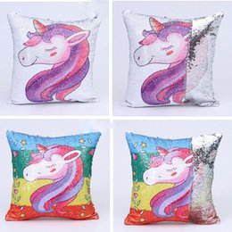 $enCountryForm.capitalKeyWord Australia - Unicorn Printed Mermaid Fashion Sequins Pillowcase Reversible Sequins Pillow Covers Double Colors Cushion Cover Throw Home Decor