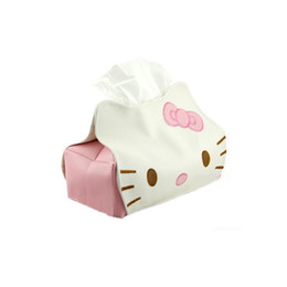 $enCountryForm.capitalKeyWord UK - Hello Kitty PU Leather Tissue Cover Tissue Box Table Decoration Pumping Napkin Holder Suit For Car
