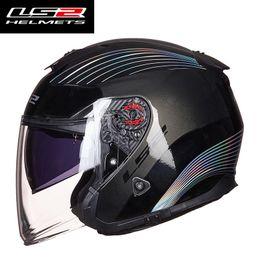 $enCountryForm.capitalKeyWord Australia - Original LS2 OF521 fiber glass open face women men motorcycle helmet dual lens motorbike half helmets capacete casco moto