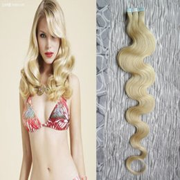 tape hair extensions body wave 2019 - Blonde Hair Extensions Adhesive 40pcs Body Wave Brazilian Virgin Remy Skin Weft Tape Adhesive Human Hair Extensions Prod