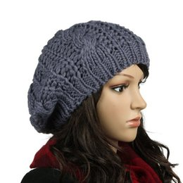 Beanies Braids NZ - HOT Braided Baggy Beanie Crochet Knitting Warm Winter Wool Hat Cap for Women