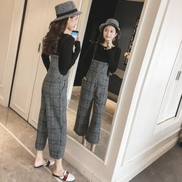 $enCountryForm.capitalKeyWord UK - 2018 Spring and Autumn Korean loose woolen plaid overalls wide leg female college wind suit pants nine points Siamese