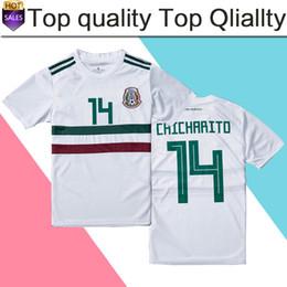 ebf215f8d12a3 Copa Mundial 2018 México Visitante Camiseta de fútbol blanca México  Visitante Copa del mundo 2018 Copa del Mundo   14 CHICHARITO   22 LOZANO  Uniforme de ...