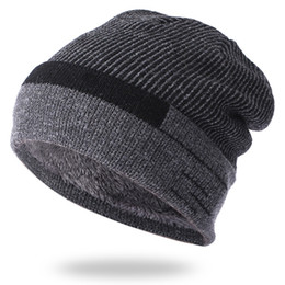 warm male beanies NZ - HT2149 Thick Warm Knitted Beanie Hats Male Fleece Lined Ski Beanies Autumn Winter Hats for Men Striped Windproof Skulies Beanies