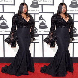 gown sleeves for fat women 2019 - 2018 black plus size long sleeves mermaid prom dress for fat women formal floor length evening gown custom made cheap go
