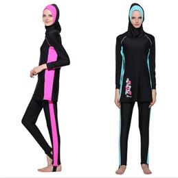 f48e6709d2 Women Long Sleeve Muslim Swimwear Islamic Swimsuit Full Face Hijab Swimming  Beachwear Sport Clothing Burkinis
