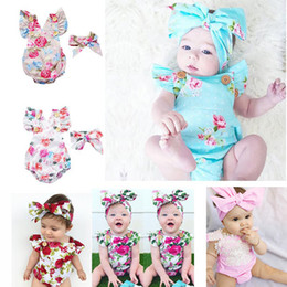 $enCountryForm.capitalKeyWord NZ - 6 Styles Infants Baby Girl Floral Rompers Bodysuit With Headbands Ruffles Sleeve 2pcs Set Buttons 2018 Summer INS Romper Suits 0-3 years