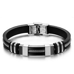 Black Bracelet mans silicone online shopping - Mens Bracelets Black Stainless Steel Silicone Bracelets Charm Bracelet Male Bangle For Men Jewelry Silver Rose Gold Color