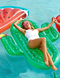 Hot toys material online shopping - Summer Hot Sale Cactus Floating Row Outdoor Beach Overwater Inflation Water Toy Mounts Thickening PVC Material Pool Floats Mat rl Y