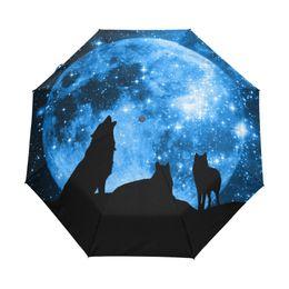 $enCountryForm.capitalKeyWord UK - Wolves of the Full Moon Starry Sky Umbrella Three Folding Full Automatic Run Rain Children Umbrella Windproof Anti UV Umbrellas