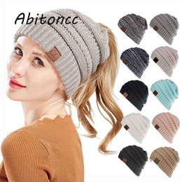 Fashion CC Ponytail Beanie Hat Women Crochet Knit Cap Winter Skullies  Beanies Warm Caps Girls Knitted Stylish Hats For Ladies a7e9c8bf346c