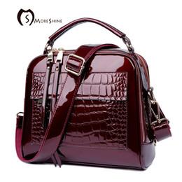 Female Patent Leather Bags Canada - Moreshine Brand Women Real Patent Leather Handbags Crocodile Fashion Design Shell Bag Female Luxurious Shoulder Bags Tote Bolsas