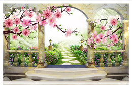 $enCountryForm.capitalKeyWord Australia - Wholesale-Customized photo wall mural wallpaper 3D three-dimensional peach blossom landscape European garden background wall painting