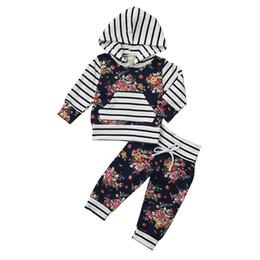 $enCountryForm.capitalKeyWord Australia - Hot Sale Newborn Infant Baby Striped Floral Print Hoodie Sweatshirt T-Shirt Tops+Pants Outfit Clothes Sets for Boys Girls Kids