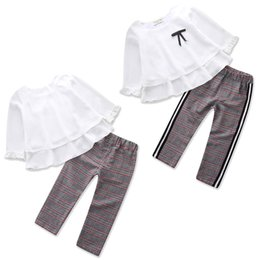 Wholesale 2PCS Pudcoco Toddler Kid Baby Girl Chiffon Tops T shirt Stripes Trousers Pants Casual Clothes