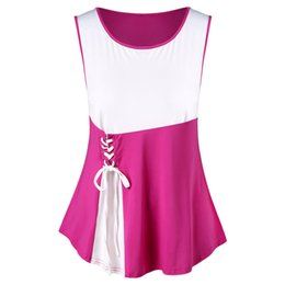 a13156f43af3e 2018 Plus Size Lace Up Tank Top Two Tone Summer Scoop Neck Sleeveless Women  Tops Causal Ladies Tanks Big Size Clothing