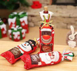 Craft Toys 1pcs Au Table Decor Dinner Party Red Wine Christmas Santa Bottle Cover Bag Sets Bottle Decor For New Year Xmas Dinner Party