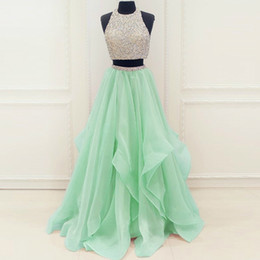 Chinese  Mint Organza Ruffles Crystals Beading Sequins Two Piece Prom Dress A-line Cutout Back Long Evening Gowns manufacturers